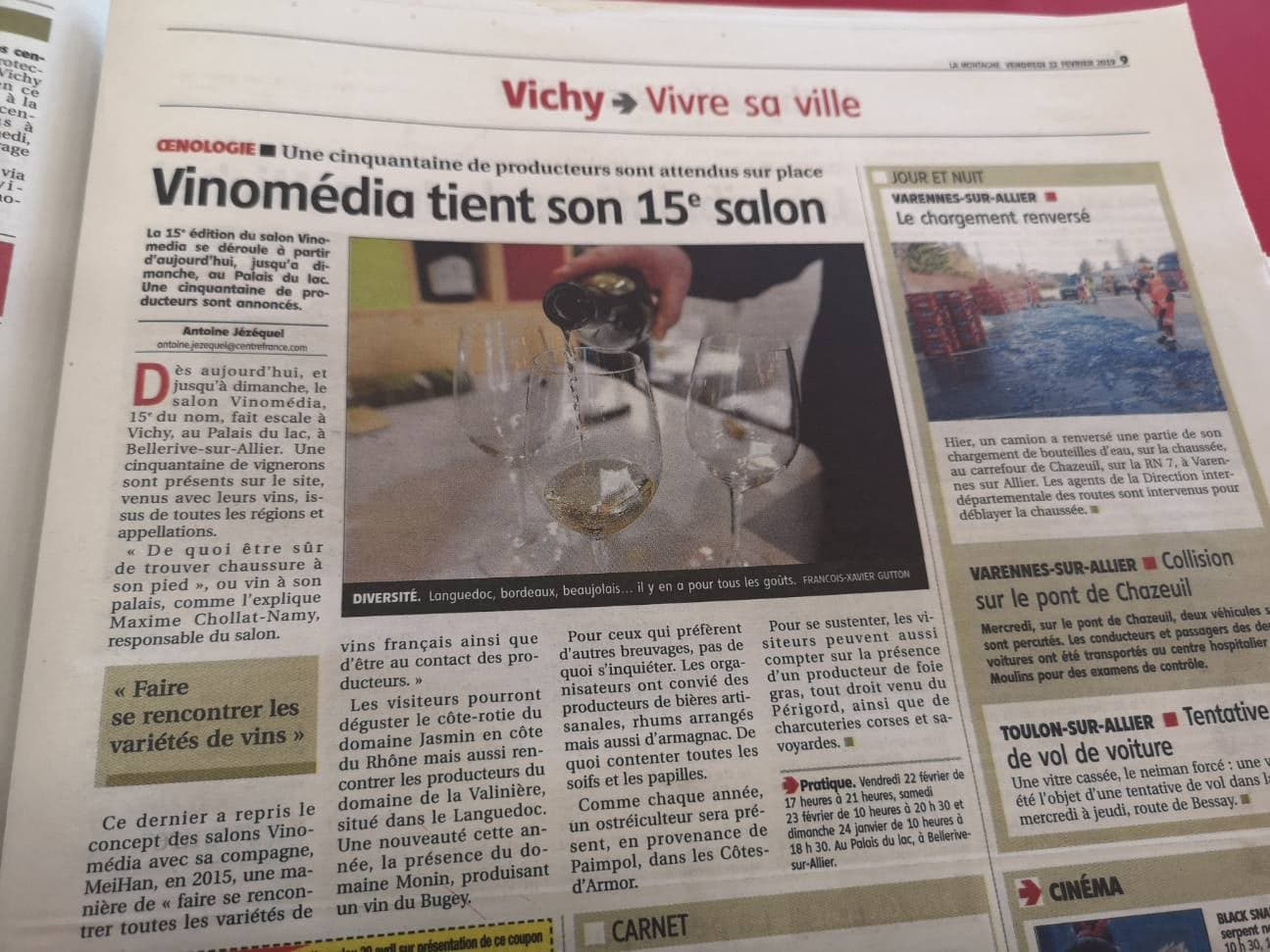 salon du vin vinomedia de vichy dans la presse
